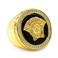 Black Onyx Gold Vintage Medusa Mens Large Round CZ Ring
