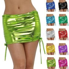Women's Shiny Metallic Wet Look Skater Bodycon Short Lace Up Mini Skirt Clubwear