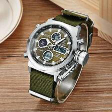 OHSEN Military Army Green Analog Digital Quartz Mens Nylon Band Wrist Watch