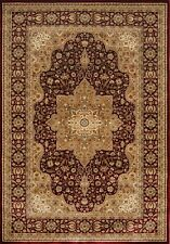 Burgundy Beige Bordered Traditional Area Rug Medallion Persian Oriental Carpet