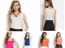 Chiffon Ladies Summer vest Loose Sleeveless Casual Cool Tops Blouse Tee T-Shirt
