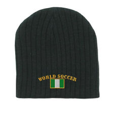 WORLD SOCCER NIGERIA FLAG Embroidery Embroidered Beanie Skull Cap Hat