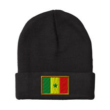 SENEGAL FLAG Embroidery Embroidered Beanie Skully Hat Cap