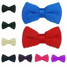 Trendy Mens Boys Tied Knit Bow Clip On Tuxedo Necktie Pre-Tied Jacquard Bow Tie