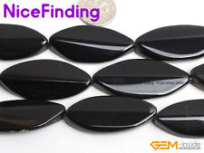 """Hot 18x40mm Natural Black Agate Loose Gemstone Beads For Jewelry Making 15"""" DIY"""