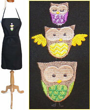 "Owl Apron 24"" or 30"" Colorful Baby Mom Dad Family Owls Monogram Chef or Artist"