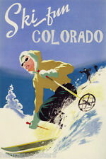 GIRL DOWNHILL SKIING SKI FUN COLORADO AMERICAN WINTER SPORT VINTAGE POSTER REPRO