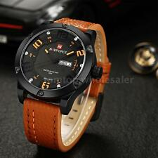 NAVIFORCE MILITARY Mens DATE Display Leather Strap Quartz Sport Wrist Watch E2C0