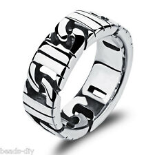 BD Men's Vintage Steampunk 316L Stainless Steel Wide Band Ring US 7-11