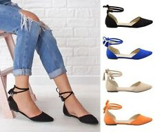 Womens Ladies casual pointed toe tassel trims work dress ankle lace flats shoes