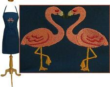 "Flamingo Apron 30"" Navy Size Birds Heart Monogram Tropical Kitchen Chef Artist"