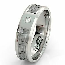 Mens Wedding Band Tungsten Ring Carbon Fiber Inlay with Brilliant Solitare CZ H