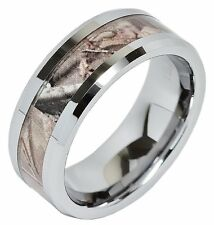 Mens Carbide Tungsten Ring Real Oak Camouflage Wedding Band Jewelry