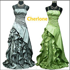 Cherlone Clearance Plus Size Grey Green Ballgown Wedding/Evening Dress UK 20-24