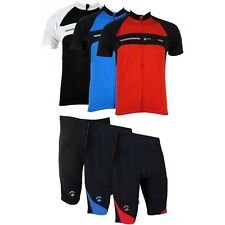 Piu Miglia Mens Short Sleeve Full Zip Cycling Jersey Bike Top Cycle Shorts Shirt