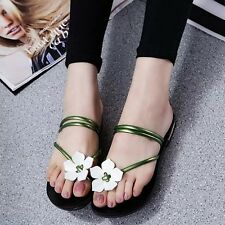 Lady's Sandals Casual Strappy Slippers Toe Thongs Shoes Flats Flower Flip Flops