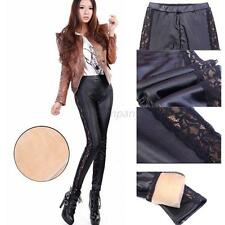 Sexy Women Slim Stretch Skinny Lace Side Faux Leather Tight Leggings Pencil Pant