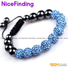 10mm Czech Crystal Rhinestones Pave Clay Round Disco Beads Adjustable Bracelets