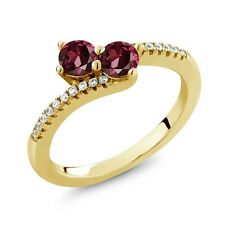 0.98 Ct Round Red Rhodolite Garnet Two Stone 18K Yellow Gold Plated Silver Ring