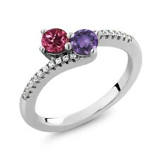 0.72 Ct Round Pink Tourmaline Purple Amethyst Two Stone 925 Sterling Silver Ring