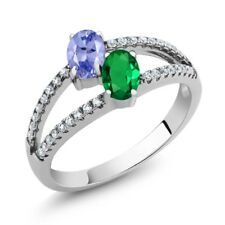 1.26 Ct Tanzanite Green Simulated Emerald Two Stone 925 Sterling Silver Ring