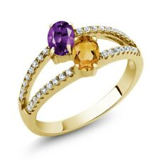 1.16 Ct Amethyst Yellow Citrine Two Stone 18K Yellow Gold Plated Silver Ring