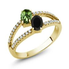 1.30 Ct Green Tourmaline Black Onyx Two Stone 18K Yellow Gold Plated Silver Ring