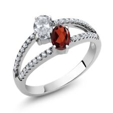 1.41 Ct Oval White Topaz Red Garnet Two Stone 925 Sterling Silver Ring
