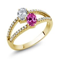 1.41 Ct White Topaz Pink Created Sapphire 18K Yellow Gold Plated Silver Ring