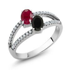 1.40 Ct Oval Red Ruby Black Onyx Two Stone 925 Sterling Silver Ring