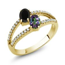 1.30 Ct Onyx Green Mystic Topaz Two Stone 18K Yellow Gold Plated Silver Ring