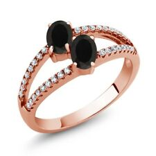 1.19 Ct Oval Black Onyx Two Stone 18K Rose Gold Plated Silver Ring