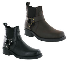 Gringos Gusset Heeled Ankle Harness Cowboy Mens Leather Pull On Boots UK6-12