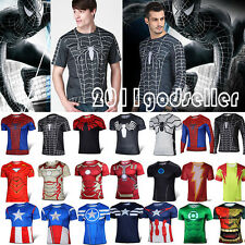 Mens Superhero Cycling T-Shirt Sports Base Layer Basic Tee Top Jersey Costume