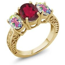 3.40 Ct Mystic Quartz and Mystic Topaz 18K Yellow Gold Plated Silver Ring