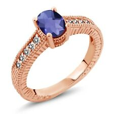 0.98 Ct Checkerboard Blue Iolite White Diamond 18K Rose Gold Plated Silver Ring