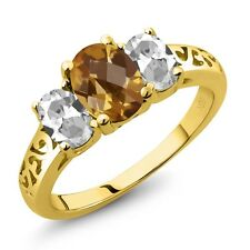 2.15 Ct Oval Checkerboard Quartz White Topaz 18K Yellow Gold Plated Silver Ring