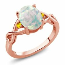 0.67 Ct Cabochon White Opal Yellow Sapphire 18K Rose Gold Plated Silver Ring