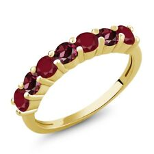 1.54 Ct Round Red Ruby Red Rhodolite Garnet 18K Yellow Gold Plated Silver Ring