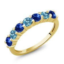 1.56 Ct Round Blue Sapphire Swiss Blue Topaz 18K Yellow Gold Plated Silver Ring