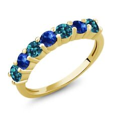 1.52 Ct Round London Blue Topaz Blue Sapphire 18K Yellow Gold Plated Silver Ring