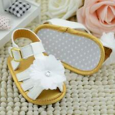 Cute Baby Infant Girls Leather Flower Crib Soft Sole Flat Sandals Toddler Shoes