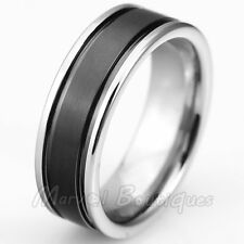 7/8mm Trendy Tungsten Carbide Black Plated Center Wedding Anniversary Band Ring
