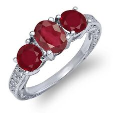 2.22 Ct Oval African Red Ruby Red Ruby 18K White Gold Ring