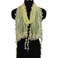 Fashion Womens Crochet Flower Hollow Mesh Stitching Floral Tassel Long Scarf New