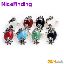 Oval Gemstone Tibetan Silver Base Marcasite Rings Fashion Jewelry For Women Gift