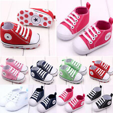 Infant Toddler Baby Boy Girl Soft Sole Crib Shoes Sneaker Newborn Canvas DW