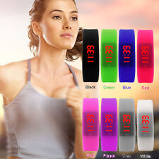 2016 Women Men Silicone Band Date Digital LED Bracelet Wrist Watch Sport Watches