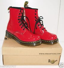 BNIB Ladies Dr Martens Air Wair Shinny Red Leather Boots Lace Shoes 1460W Size 5