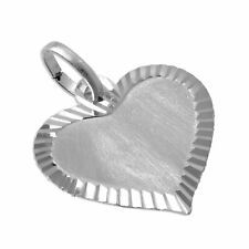 Large Edged 925 Sterling Silver Heart Pendant Personalised Love Valentines